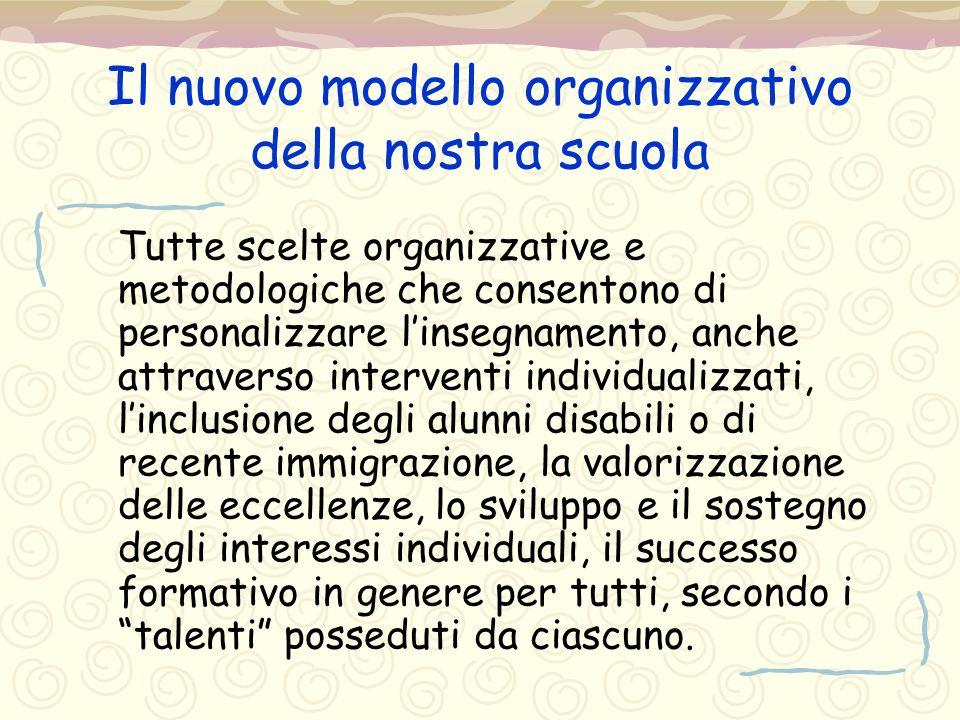 Il nuovo modello organizzativo della nostra scuola Tutte scelte organizzative e metodologiche che consentono di personalizzare l'insegnamento, anche a