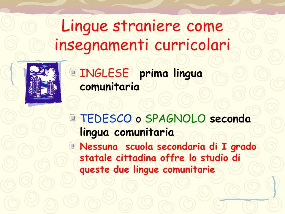 Lingue straniere come insegnamenti curricolari INGLESE prima lingua comunitaria TEDESCO o SPAGNOLO seconda lingua comunitaria Nessuna scuola secondari