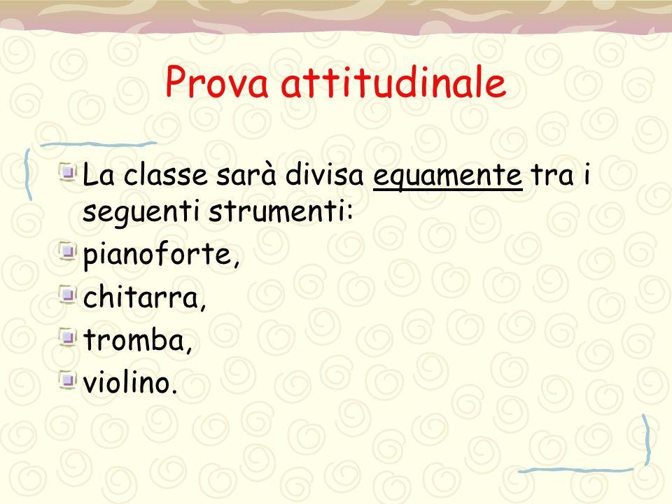 Prova attitudinale La classe sarà divisa equamente tra i seguenti strumenti: pianoforte, chitarra, tromba, violino.