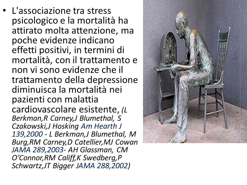 L associazione tra stress psicologico e la mortalità ha attirato molta attenzione, ma poche evidenze indicano effetti positivi, in termini di mortalità, con il trattamento e non vi sono evidenze che il trattamento della depressione diminuisca la mortalità nei pazienti con malattia cardiovascolare esistente, (L Berkman,R Carney,J Blumethal, S Czakowski,J Hosking Am Hearth J 139,2000 - L Berkman,J Blumethal, M Burg,RM Carney,D Catellier,MJ Cowan JAMA 289,2003- AH Glassman, CM O'Connor,RM Califf,K Swedberg,P Schwartz,JT Bigger JAMA 288,2002)
