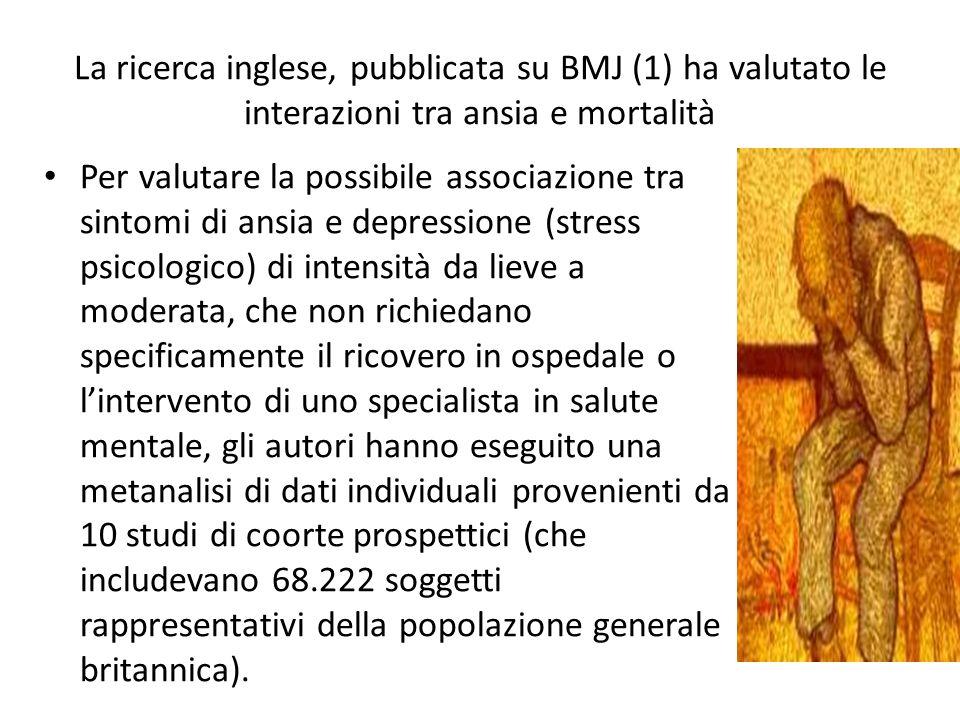La ricerca inglese, pubblicata su BMJ (1) ha valutato le interazioni tra ansia e mortalità Per valutare la possibile associazione tra sintomi di ansia