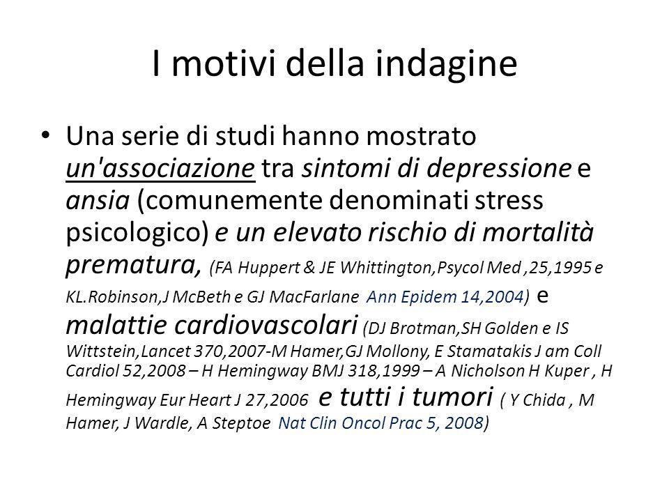 I motivi della indagine Una serie di studi hanno mostrato un associazione tra sintomi di depressione e ansia (comunemente denominati stress psicologico) e un elevato rischio di mortalità prematura, (FA Huppert & JE Whittington,Psycol Med,25,1995 e KL.Robinson,J McBeth e GJ MacFarlane Ann Epidem 14,2004) e malattie cardiovascolari (DJ Brotman,SH Golden e IS Wittstein,Lancet 370,2007-M Hamer,GJ Mollony, E Stamatakis J am Coll Cardiol 52,2008 – H Hemingway BMJ 318,1999 – A Nicholson H Kuper, H Hemingway Eur Heart J 27,2006 e tutti i tumori ( Y Chida, M Hamer, J Wardle, A Steptoe Nat Clin Oncol Prac 5, 2008)