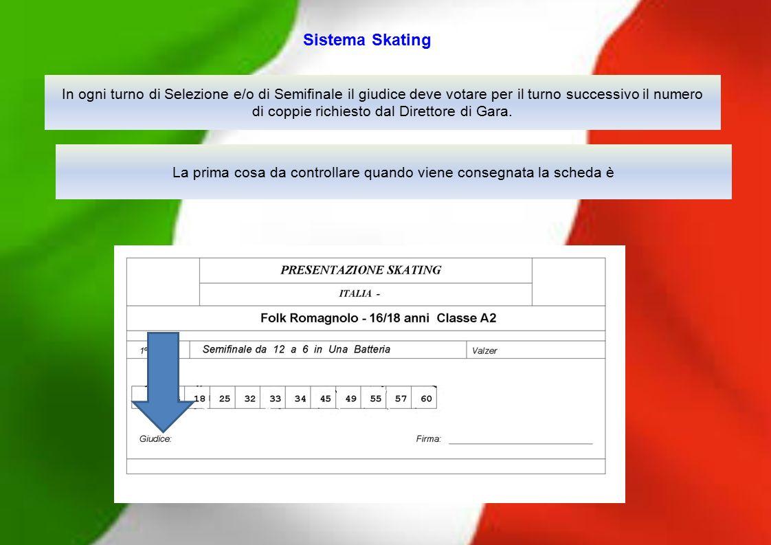 In ogni turno di Selezione e/o di Semifinale il giudice deve votare per il turno successivo il numero di coppie richiesto dal Direttore di Gara. Siste