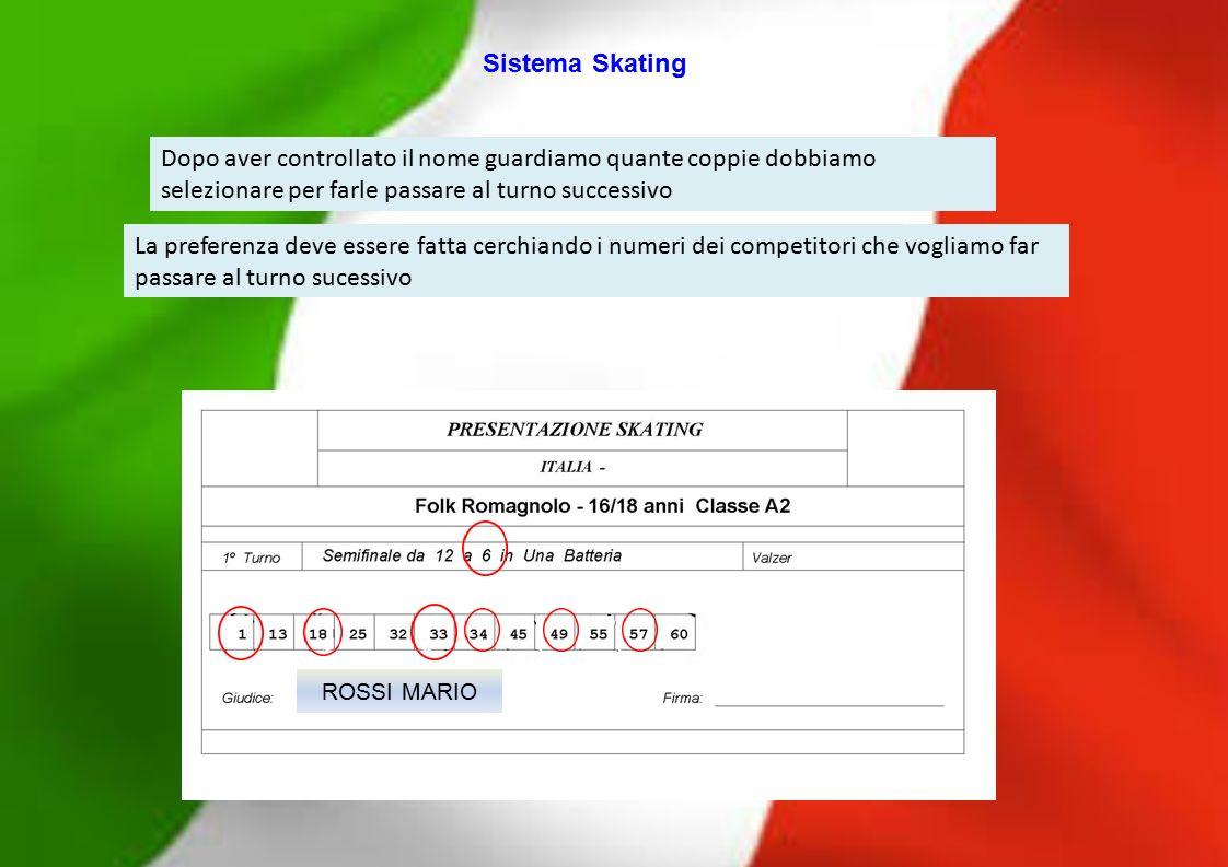 ROSSI MARIO La preferenza deve essere fatta cerchiando i numeri dei competitori che vogliamo far passare al turno sucessivo Dopo aver controllato il n