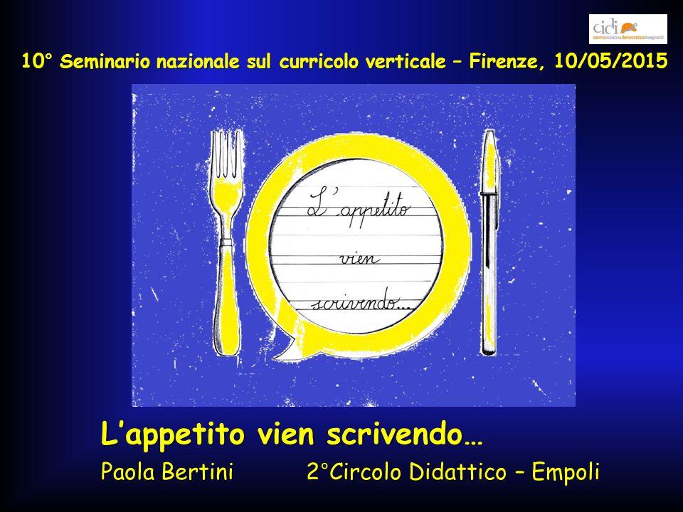 L'appetito vien scrivendo… Paola Bertini 2°Circolo Didattico – Empoli 10° Seminario nazionale sul curricolo verticale – Firenze, 10/05/2015