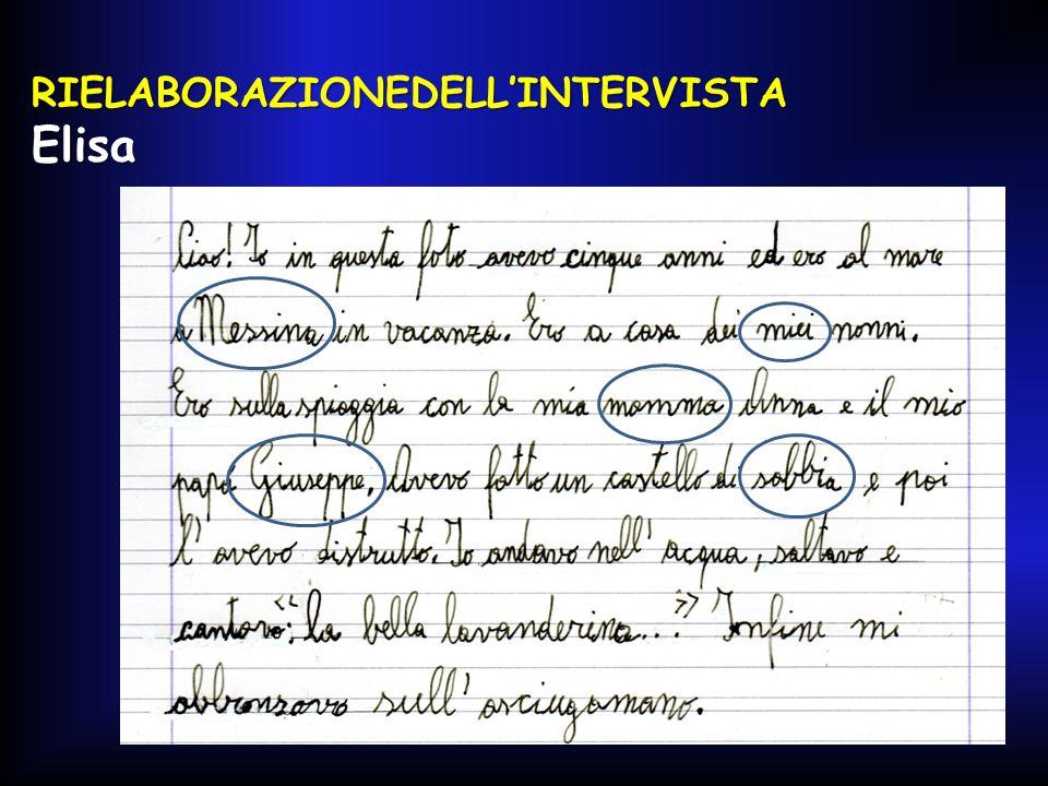 RIELABORAZIONEDELL'INTERVISTA Elisa