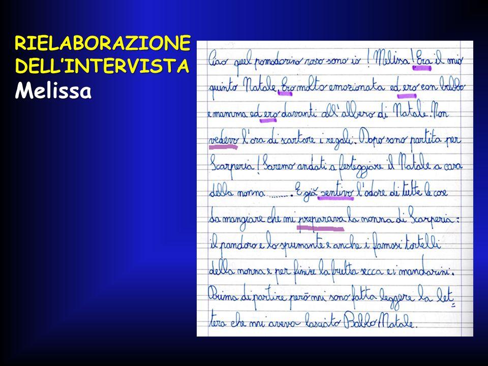 RIELABORAZIONE DELL'INTERVISTA Melissa