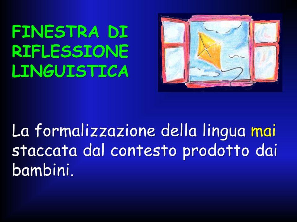 FINESTRA DI RIFLESSIONE LINGUISTICA La formalizzazione della lingua mai staccata dal contesto prodotto dai bambini.