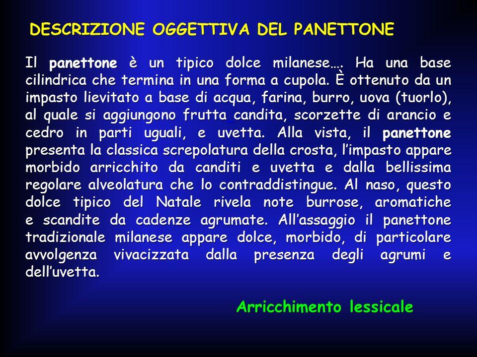 DESCRIZIONE OGGETTIVA DEL PANETTONE Il panettone è un tipico dolce milanese….