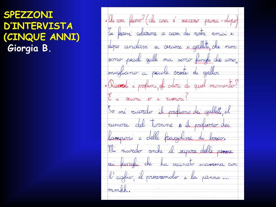 SPEZZONI D'INTERVISTA (CINQUE ANNI) Giorgia B. Giorgia B.