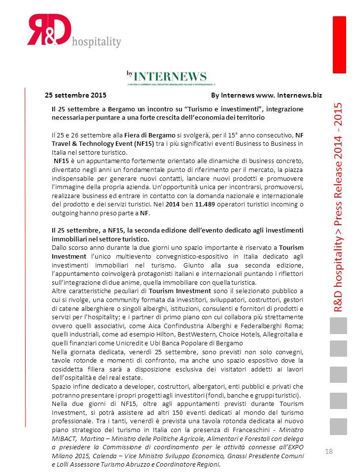 """R&D hospitality > Press Release 2014 - 2015 Il 25 settembre a Bergamo un incontro su """"Turismo e investimenti"""", integrazione necessaria per puntare a u"""