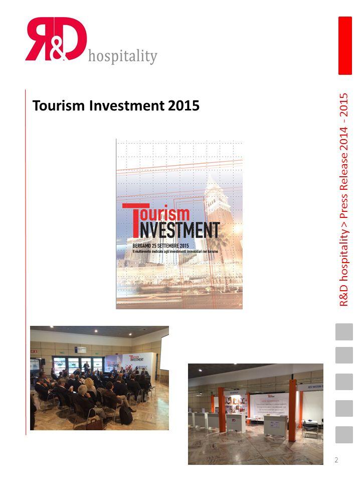 R&D hospitality > Press Release 2014 - 2015 10 Settembre 2015 www.ipress.it A NF15 Tourism Investment: investimenti immobiliari e turismo, un'integrazione necessaria per puntare a una forte crescita del territorio Il 25 settembre, a NF15, la seconda edizione dell'evento dedicato agli investimenti immobiliari nel settore turistico Milano, 10 settembre 2015 - Il 25 e 26 settembre alla Fiera di Bergamo si svolgerà, per il 15° anno consecutivo, NF Travel & Technology Event (NF15) tra i più significativi eventi Business to Business in Italia nel settore turistico.