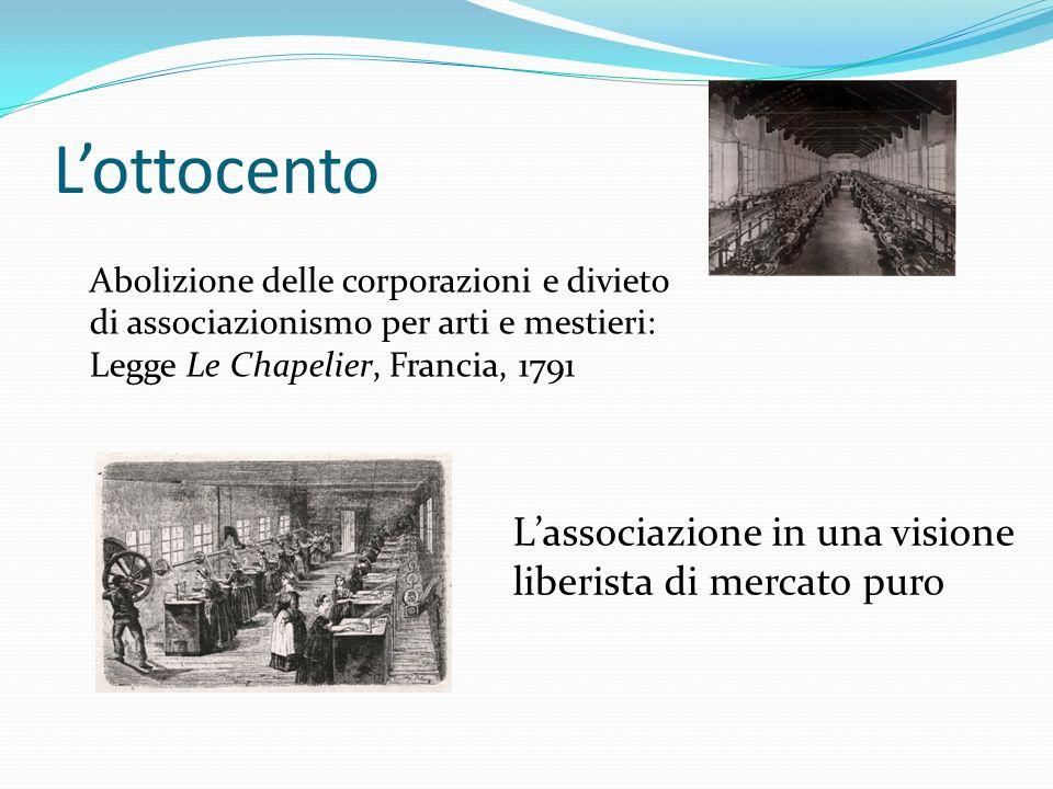 L'ottocento Abolizione delle corporazioni e divieto di associazionismo per arti e mestieri: Legge Le Chapelier, Francia, 1791 L'associazione in una visione liberista di mercato puro