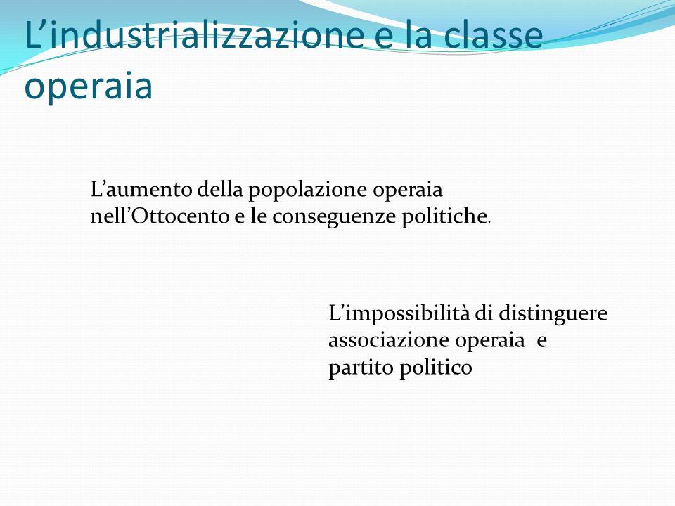 L'industrializzazione e la classe operaia L'aumento della popolazione operaia nell'Ottocento e le conseguenze politiche. L'impossibilità di distinguer