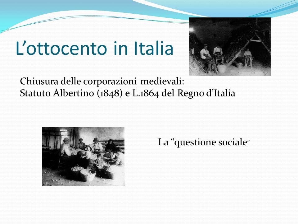 L'ottocento in Italia Chiusura delle corporazioni medievali: Statuto Albertino (1848) e L.1864 del Regno d'Italia La questione sociale