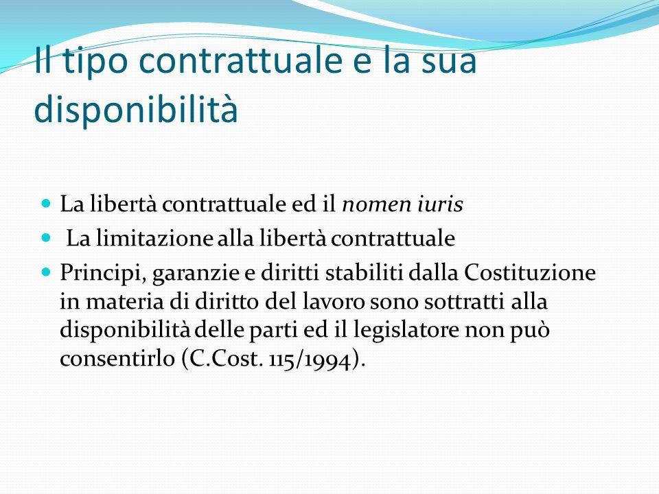 Il tipo contrattuale e la sua disponibilità La libertà contrattuale ed il nomen iuris La limitazione alla libertà contrattuale Principi, garanzie e di