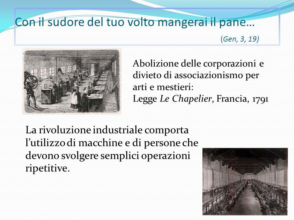 Con il sudore del tuo volto mangerai il pane… (Gen, 3, 19) La rivoluzione industriale comporta l'utilizzo di macchine e di persone che devono svolgere semplici operazioni ripetitive.