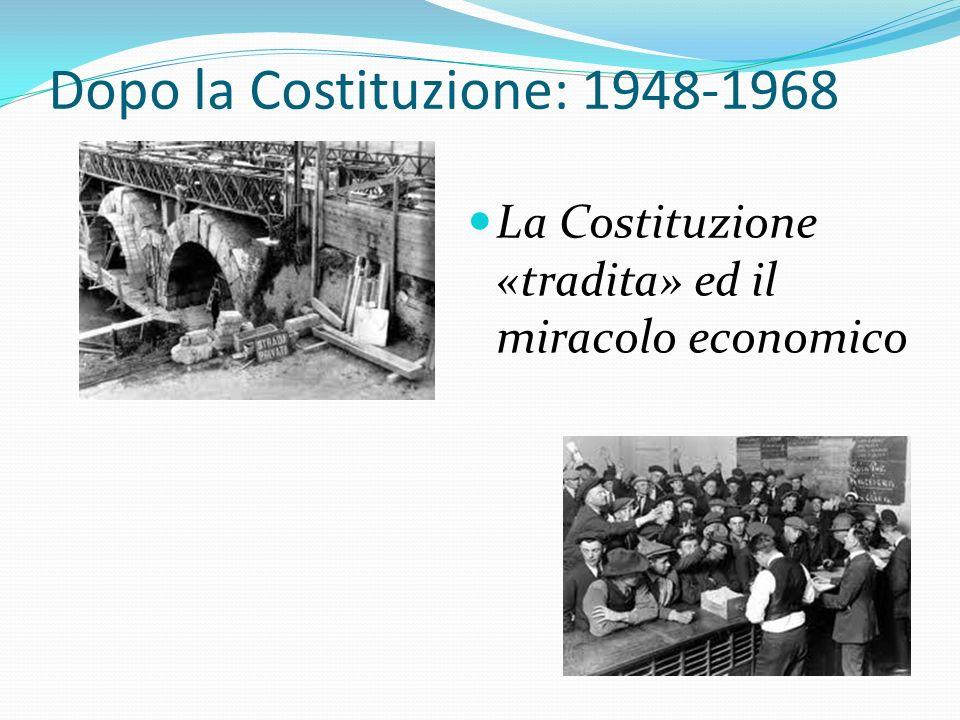 Dopo la Costituzione: 1948-1968 La Costituzione «tradita» ed il miracolo economico