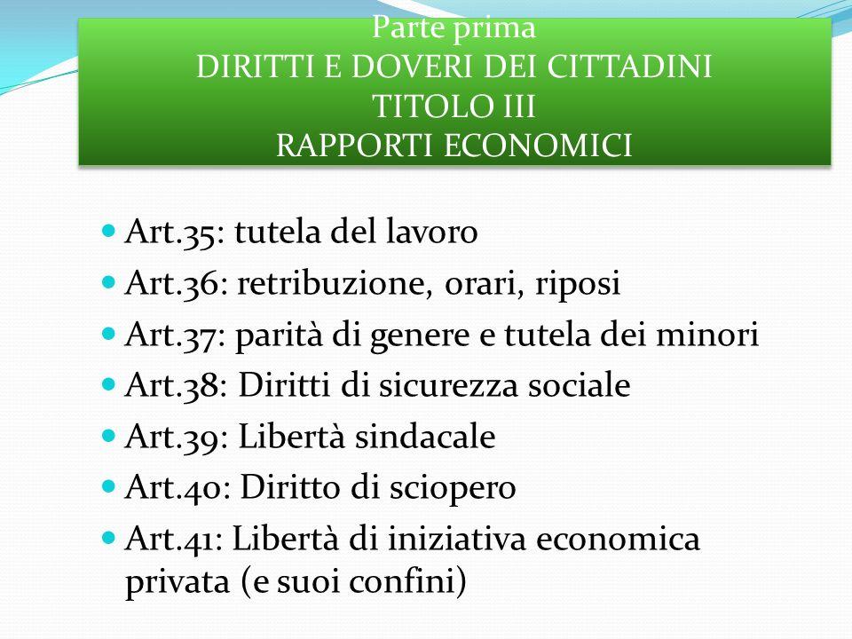 Parte prima DIRITTI E DOVERI DEI CITTADINI TITOLO III RAPPORTI ECONOMICI Art.35: tutela del lavoro Art.36: retribuzione, orari, riposi Art.37: parità