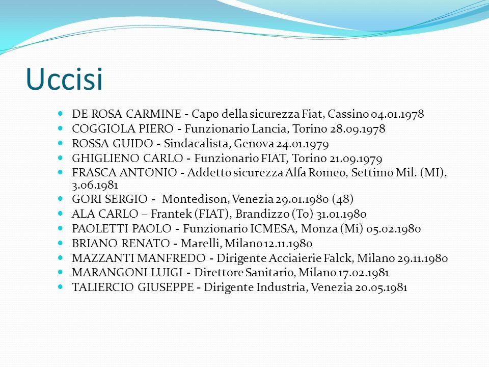 Uccisi DE ROSA CARMINE - Capo della sicurezza Fiat, Cassino 04.01.1978 COGGIOLA PIERO - Funzionario Lancia, Torino 28.09.1978 ROSSA GUIDO - Sindacalista, Genova 24.01.1979 GHIGLIENO CARLO - Funzionario FIAT, Torino 21.09.1979 FRASCA ANTONIO - Addetto sicurezza Alfa Romeo, Settimo Mil.