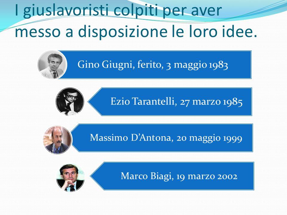 I giuslavoristi colpiti per aver messo a disposizione le loro idee. Gino Giugni, ferito, 3 maggio 1983 Ezio Tarantelli, 27 marzo 1985 Massimo D'Antona
