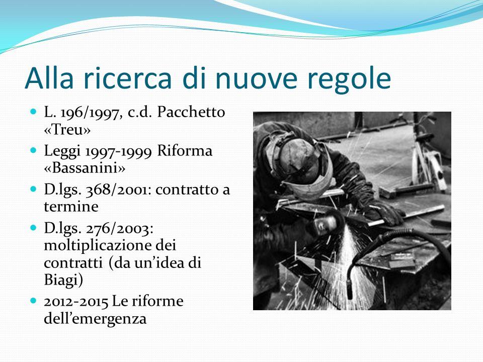 Alla ricerca di nuove regole L. 196/1997, c.d. Pacchetto «Treu» Leggi 1997-1999 Riforma «Bassanini» D.lgs. 368/2001: contratto a termine D.lgs. 276/20