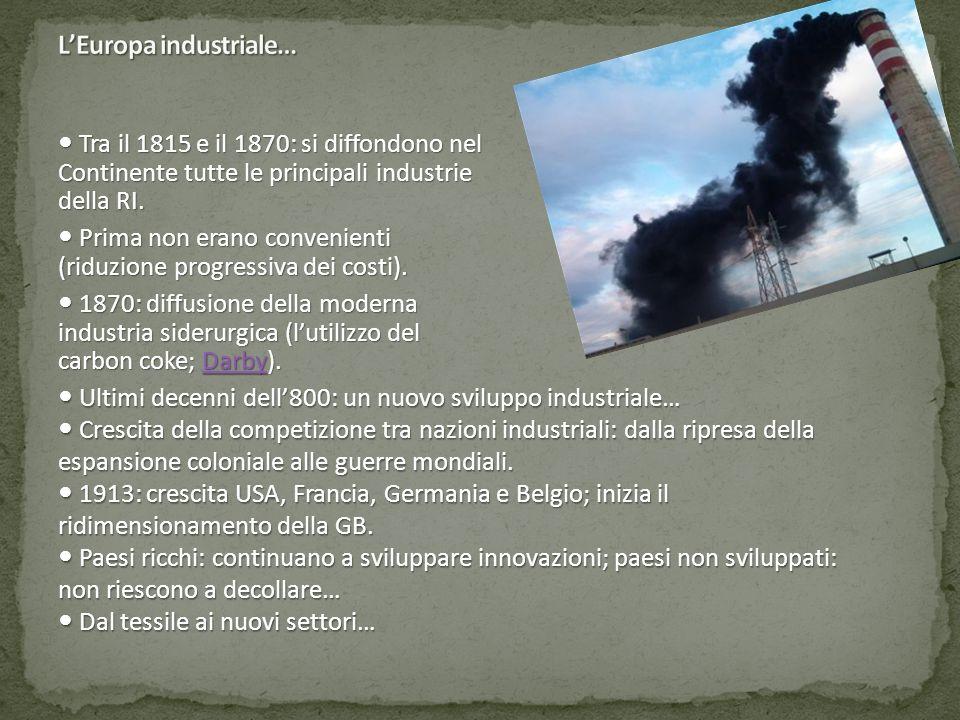 Tra il 1815 e il 1870: si diffondono nel Continente tutte le principali industrie della RI. Tra il 1815 e il 1870: si diffondono nel Continente tutte
