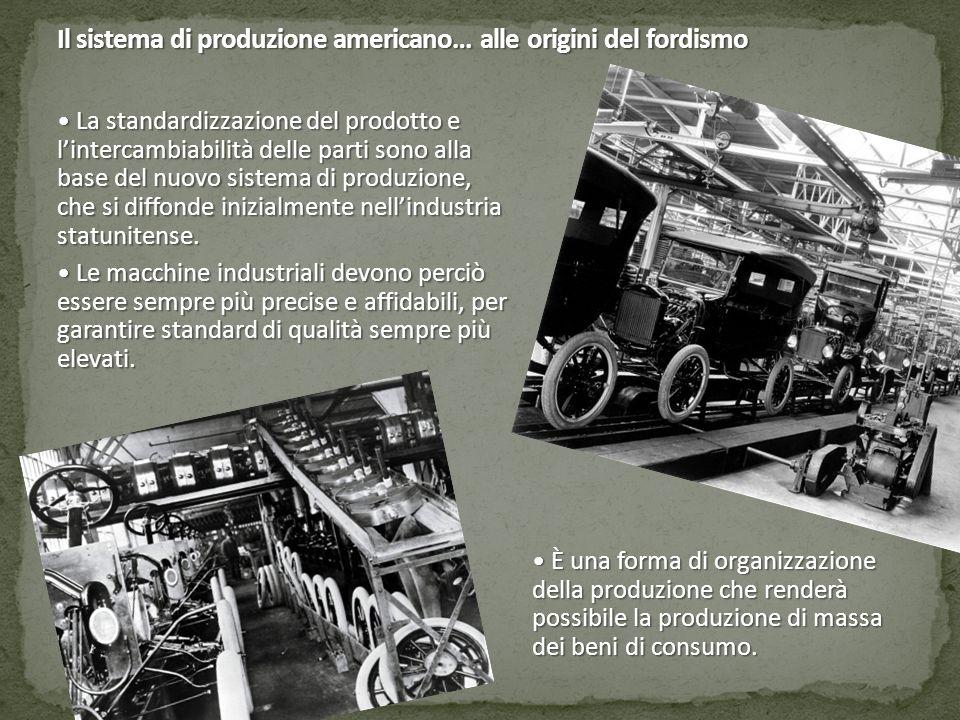 La standardizzazione del prodotto e l'intercambiabilità delle parti sono alla base del nuovo sistema di produzione, che si diffonde inizialmente nell'