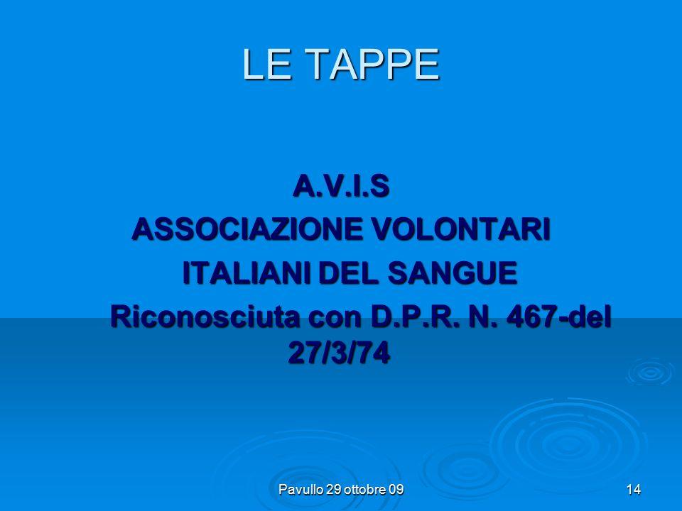 Pavullo 29 ottobre 0913 LE TAPPE  DAL 1970 L'ASSOCIAZIONE DIVENTA SEMPRE PIU' CAPILLARE, SI COSITUISCE NELLE REGIONI ED E' PRESENTE IN MOLTE PROVINCE