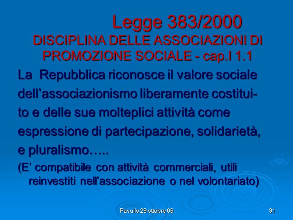 Pavullo 29 ottobre 0930 Legge 460/97 Riordino della disciplina degli enti non commerciali e delle organizzazioni non lucrative di utilità sociale.(ONL