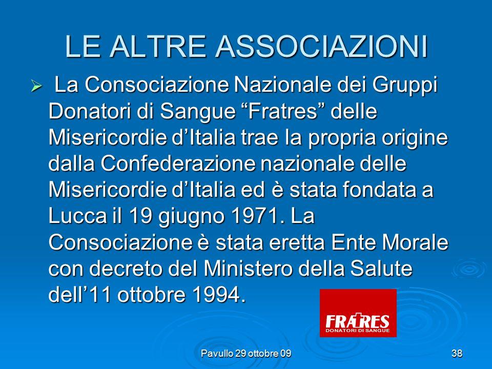 Pavullo 29 ottobre 0937 LE ALTRE ASSOCIAZIONI  La FIDAS, nasce nel 1958 a Torino, fedele alla scelta dei suoi Fondatori, si ripromette di rappresentare tutte le Associazioni autonome ed indipendenti aderenti, in modo da contenere validamente aberrazioni di scopi e storture nel campo delle attività trasfusionali.