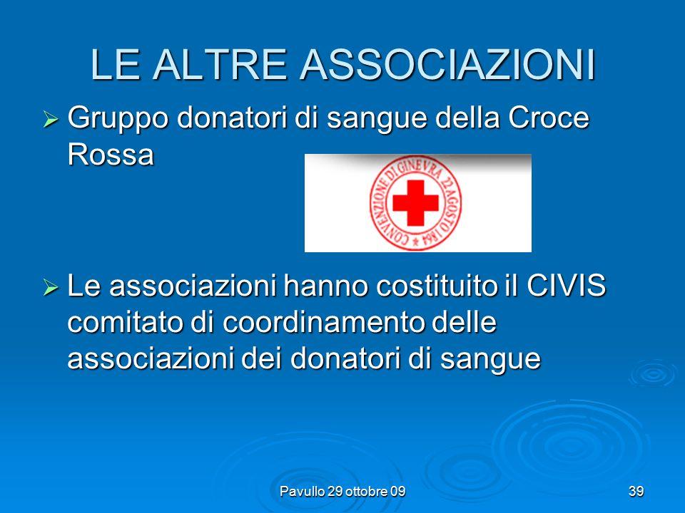 Pavullo 29 ottobre 0938 LE ALTRE ASSOCIAZIONI  La Consociazione Nazionale dei Gruppi Donatori di Sangue Fratres delle Misericordie d'Italia trae la propria origine dalla Confederazione nazionale delle Misericordie d'Italia ed è stata fondata a Lucca il 19 giugno 1971.