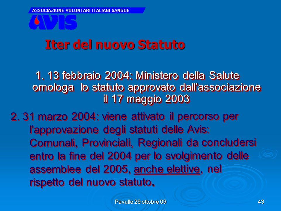 Pavullo 29 ottobre 09 42 1. 2001 inizia analisi impostazione nuovo statuto e definizione di AVIS : associazione di soci che donano volontariamente, gr