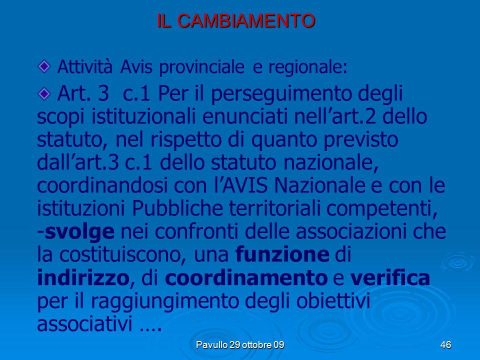 Pavullo 29 ottobre 0945 IL CAMBIAMENTO c. 3 L'Avis Comunale di …, che aderisce all'AVIS Nazionale, nonché all'Avis Regionale, Provinciale è dotata di