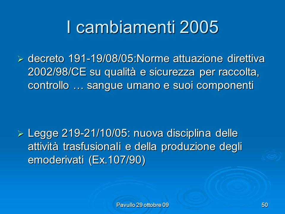 49 I cambiamenti 2005  decreto 85-13/04/05: Caratteristiche e modalità donazione sangue ed emocomponenti- Protocolli accertamenti idoneità dei donatori  Delibera regionale 12-26/07/05: Piano sangue e plasma regionale