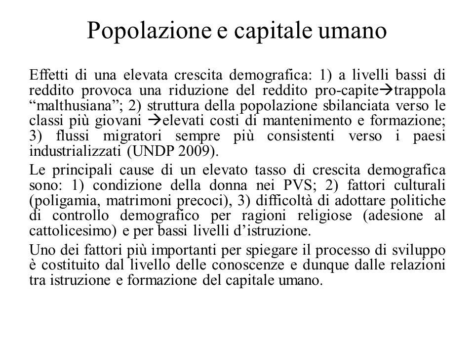 Popolazione e capitale umano Effetti di una elevata crescita demografica: 1) a livelli bassi di reddito provoca una riduzione del reddito pro-capite 