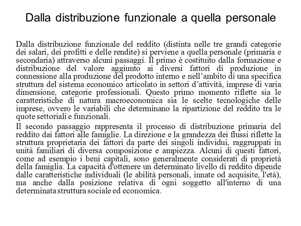 Dalla distribuzione funzionale a quella personale Dalla distribuzione funzionale del reddito (distinta nelle tre grandi categorie dei salari, dei prof