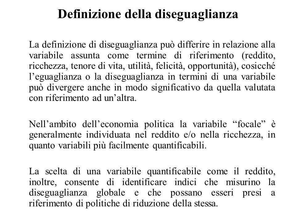 Definizione della diseguaglianza La definizione di diseguaglianza può differire in relazione alla variabile assunta come termine di riferimento (reddi