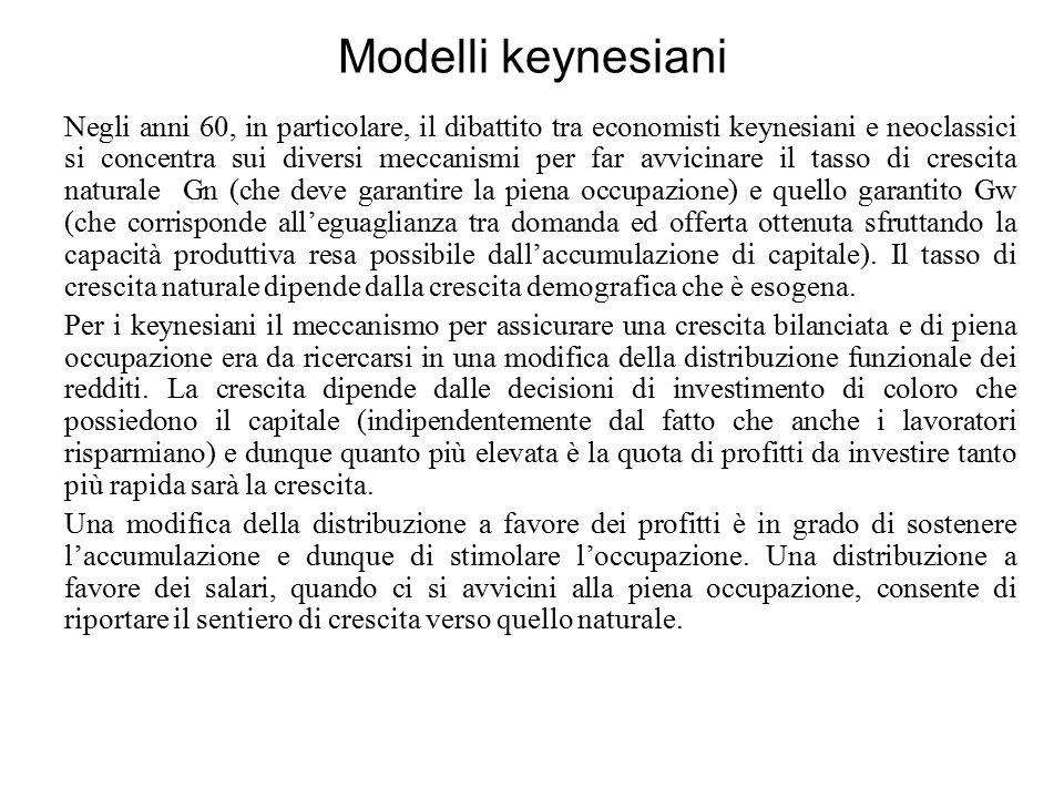 Modelli neoclassici Per i neoclassici la distribuzione funzionale del reddito non ha influenza sulla crescita in quanto si pone l'ipotesi che tutti gli agenti possano risparmiare.