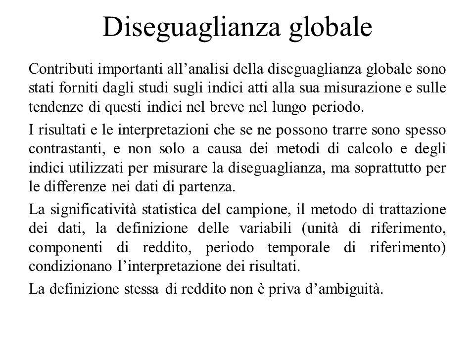 Diseguaglianza globale Contributi importanti all'analisi della diseguaglianza globale sono stati forniti dagli studi sugli indici atti alla sua misura
