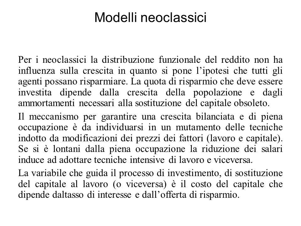Modelli neoclassici Per i neoclassici la distribuzione funzionale del reddito non ha influenza sulla crescita in quanto si pone l'ipotesi che tutti gl