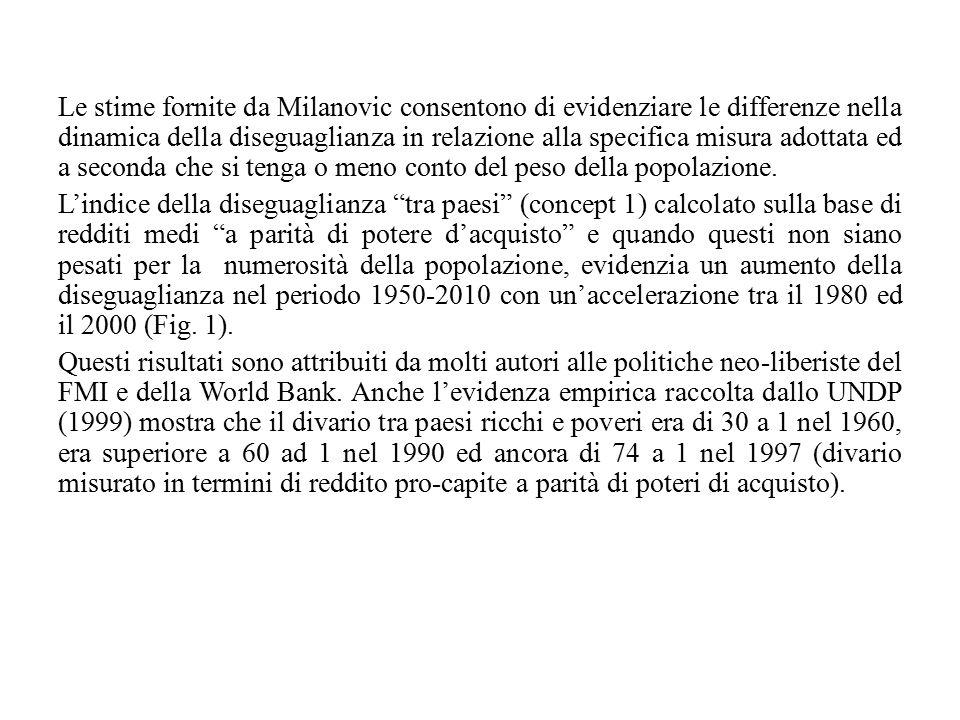 Le stime fornite da Milanovic consentono di evidenziare le differenze nella dinamica della diseguaglianza in relazione alla specifica misura adottata
