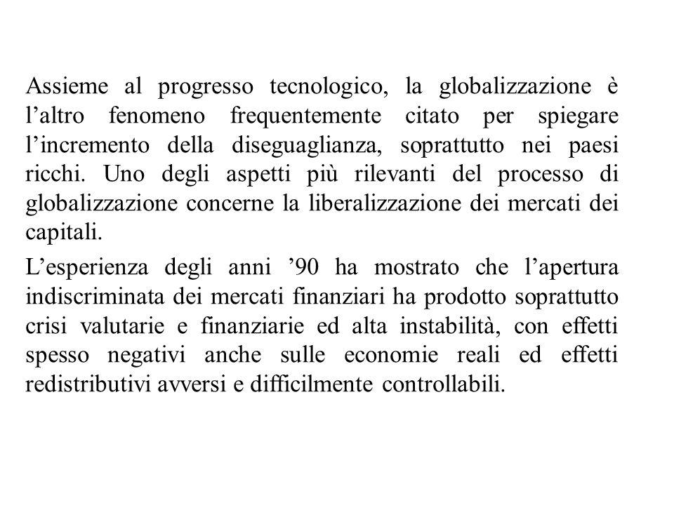 Assieme al progresso tecnologico, la globalizzazione è l'altro fenomeno frequentemente citato per spiegare l'incremento della diseguaglianza, soprattu