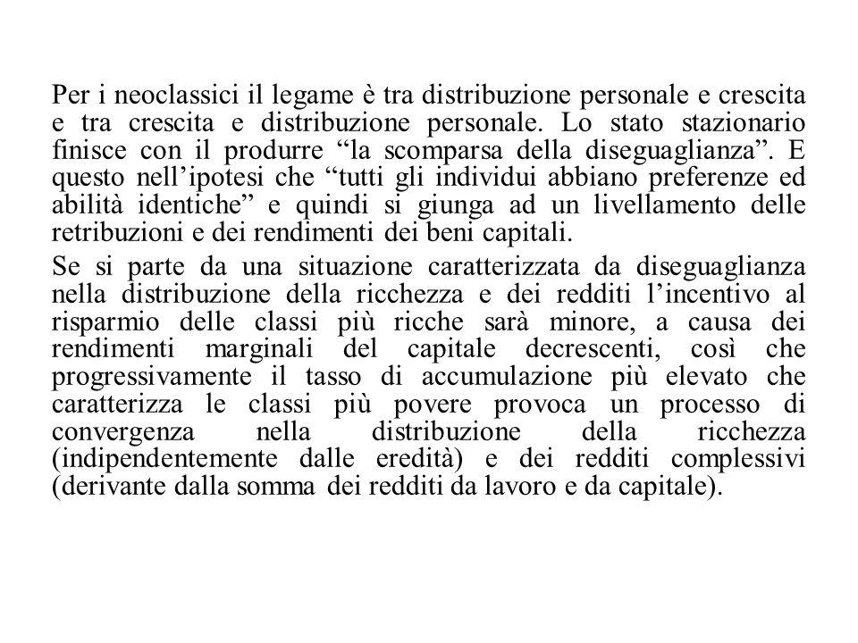 Per i neoclassici il legame è tra distribuzione personale e crescita e tra crescita e distribuzione personale. Lo stato stazionario finisce con il pro