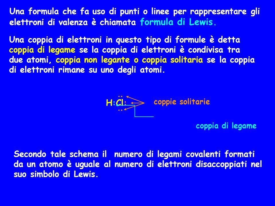Una formula che fa uso di punti o linee per rappresentare gli elettroni di valenza è chiamata formula di Lewis. Una coppia di elettroni in questo tipo