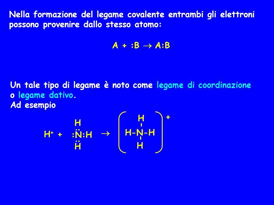 Nella formazione del legame covalente entrambi gli elettroni possono provenire dallo stesso atomo: A + :B  A:B Un tale tipo di legame è noto come le