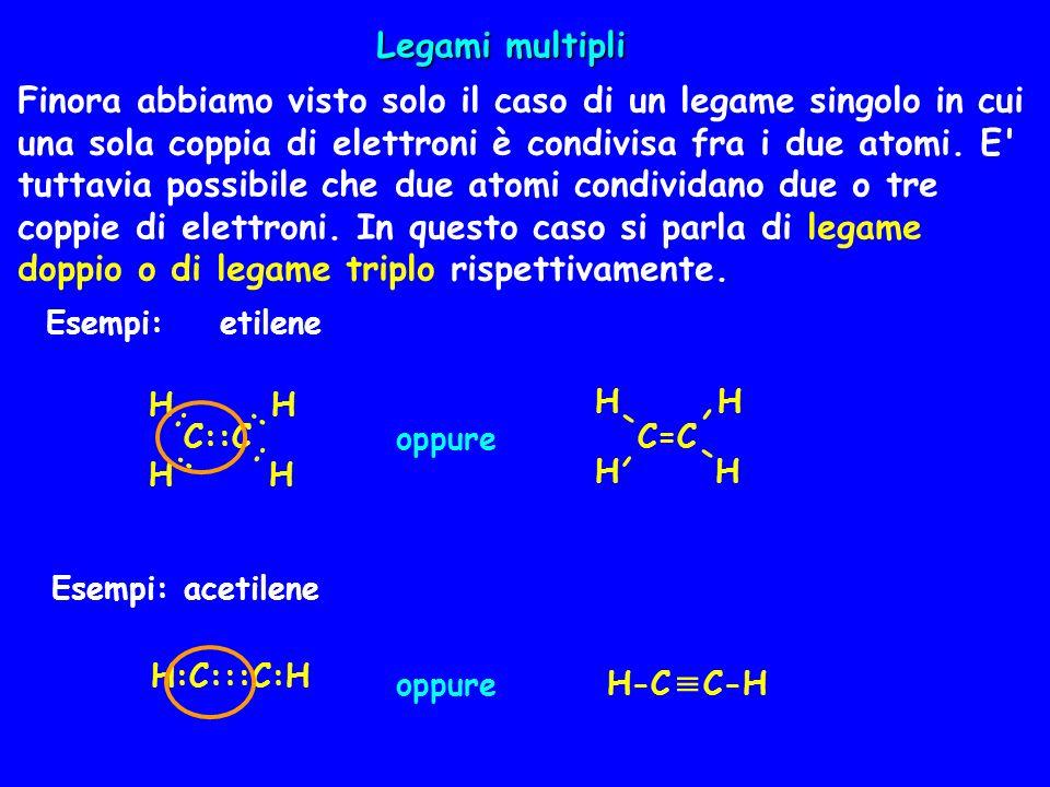 Finora abbiamo visto solo il caso di un legame singolo in cui una sola coppia di elettroni è condivisa fra i due atomi. E' tuttavia possibile che due
