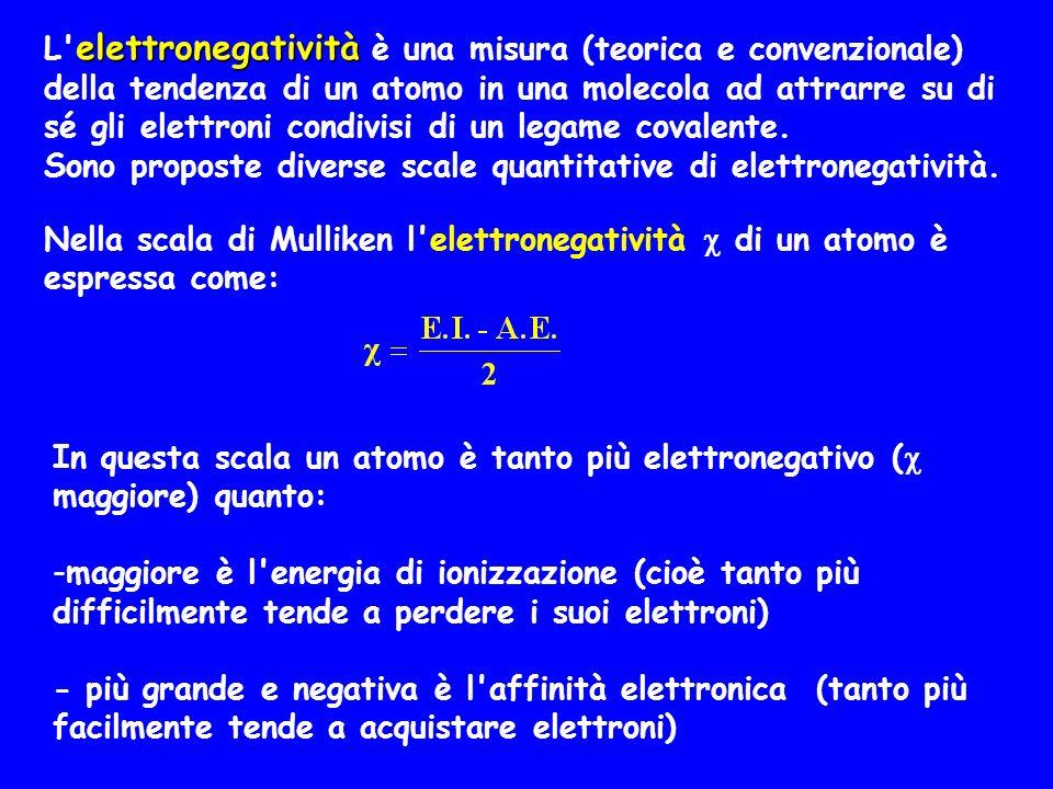 Nella scala di Mulliken l'elettronegatività  di un atomo è espressa come: In questa scala un atomo è tanto più elettronegativo (  maggiore) quanto: