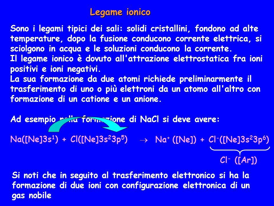 Legame ionico Sono i legami tipici dei sali: solidi cristallini, fondono ad alte temperature, dopo la fusione conducono corrente elettrica, si sciolgo