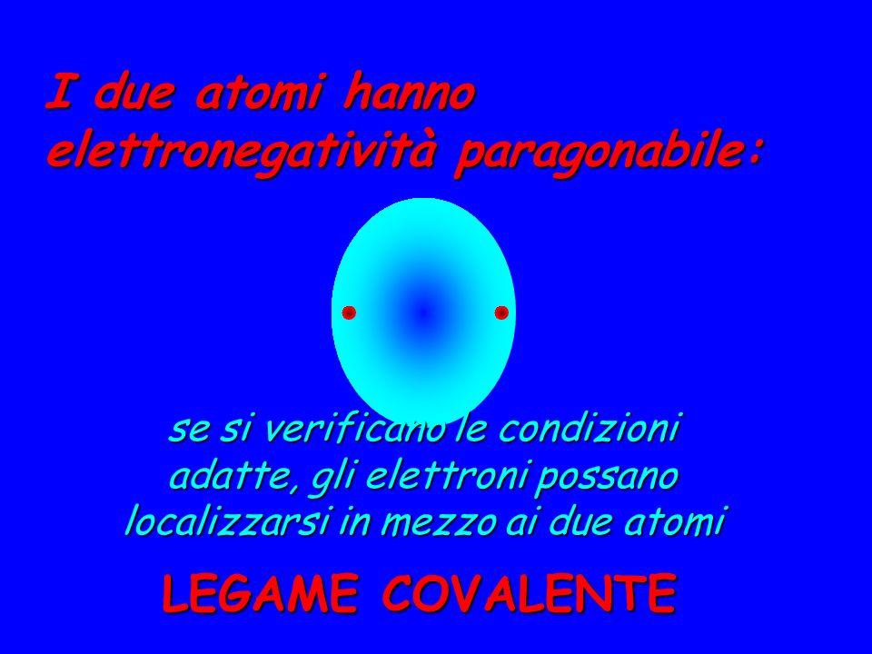 I due atomi hanno elettronegatività paragonabile: se si verificano le condizioni adatte, gli elettroni possano localizzarsi in mezzo ai due atomi LEGA